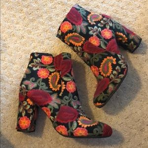 Mia embroidered booties, never worn